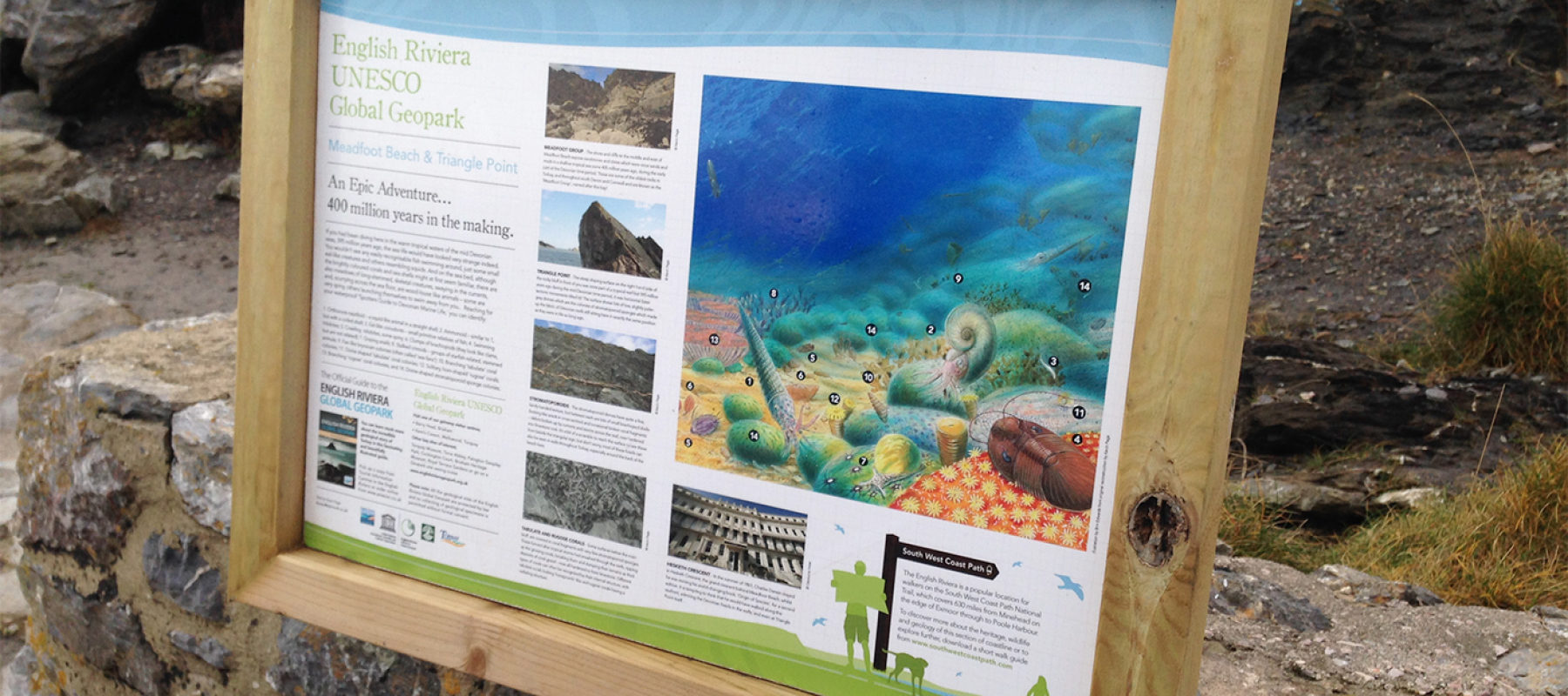 Geopark interpretation boards on display in Torbay