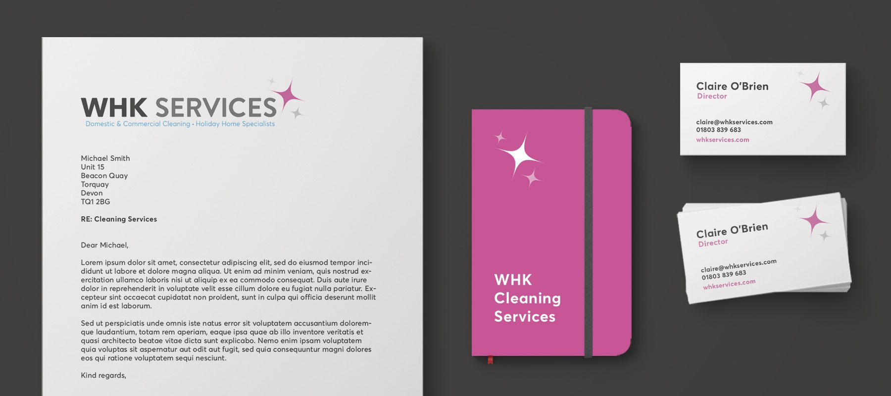 stationery mockup whk cleaning dartmouth devon
