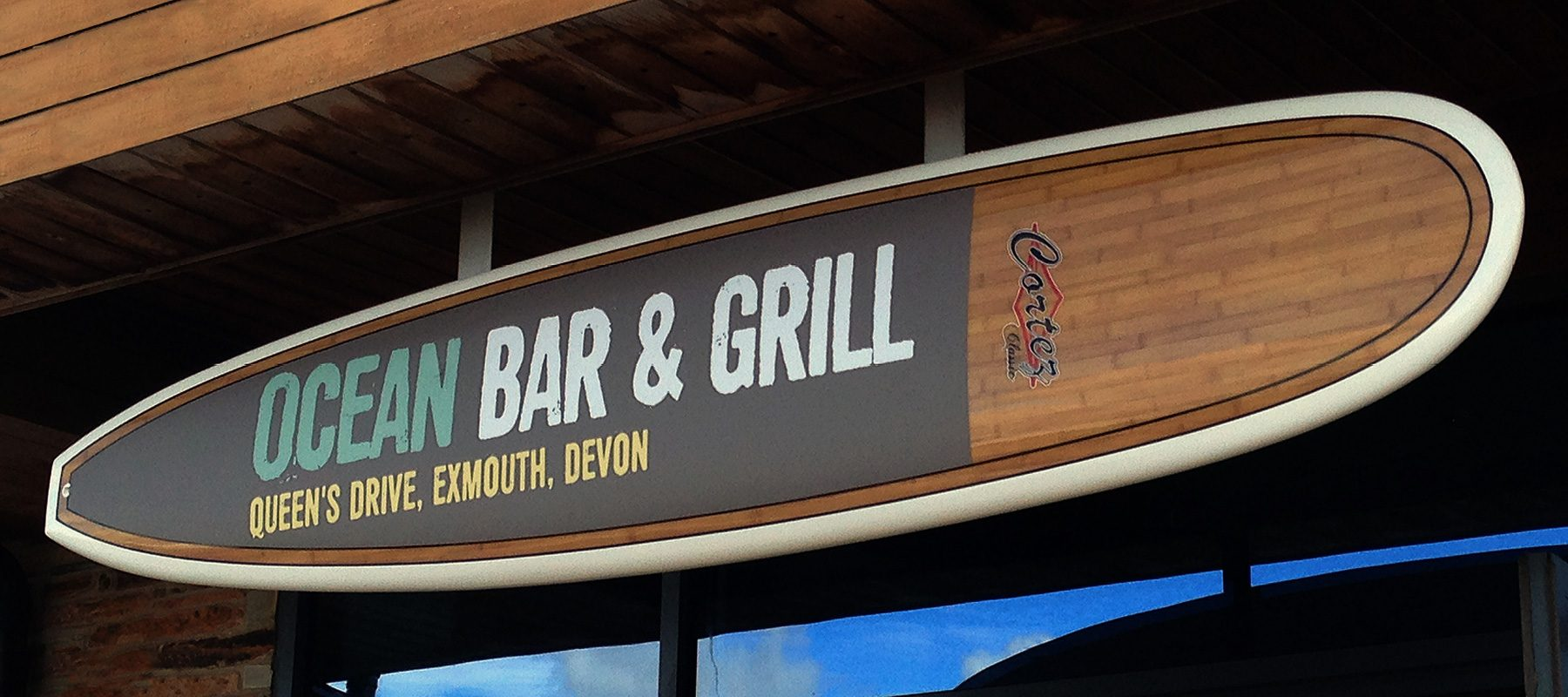 ocean exmouth logo brand design bar grill restaurant surfing retro