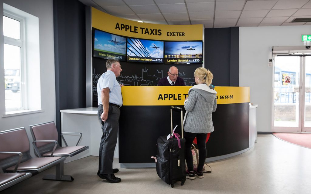 digital signage booking desk interior design graphic design print apple taxis exeter