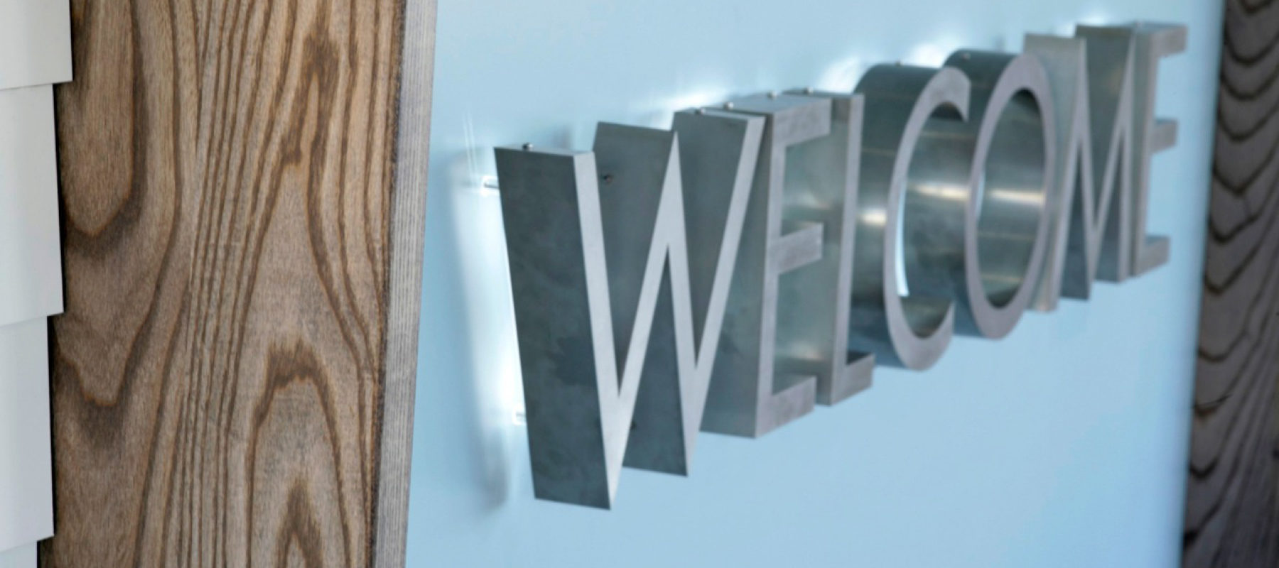 3d lettering holiday park reception creative typography interior design