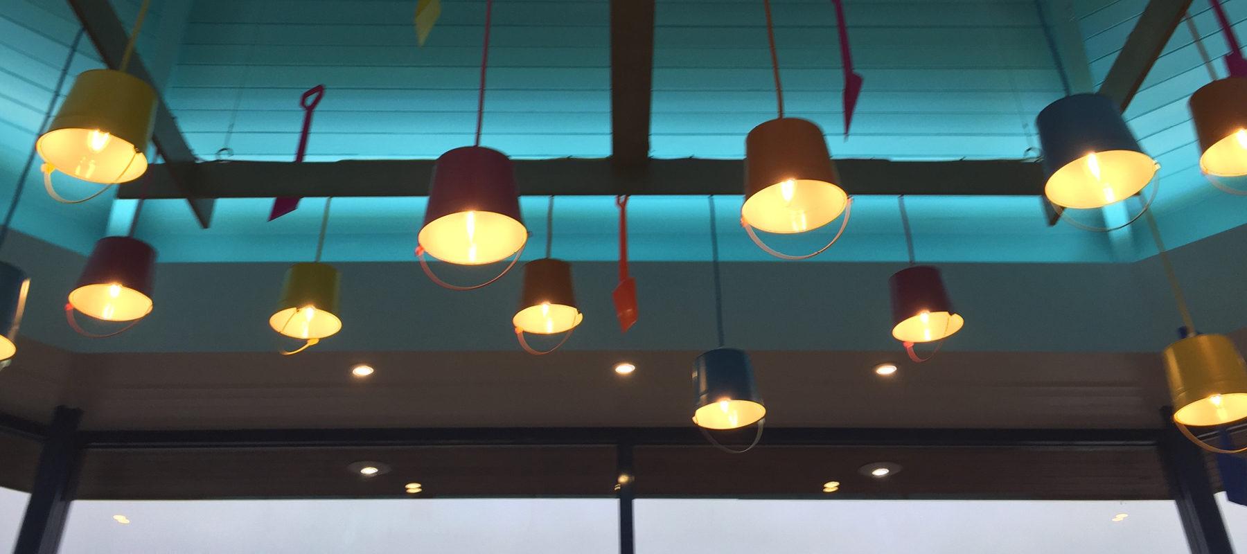 seaside holiday park lighting bucket spade reception interior design