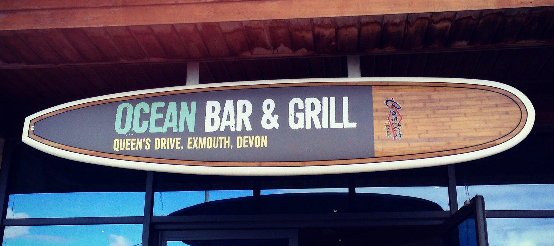 logo surfboard brand design typography bar grill restaurant seaside surfing