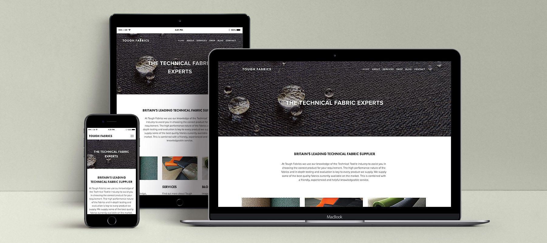 technical fabric supplier tough fabrics web design responsive website mockup